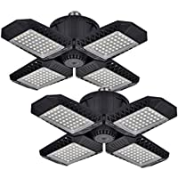 2-Pack Inscrok 80W Deformable LED Garage Ceiling Lights with 4 Adjustable Panels