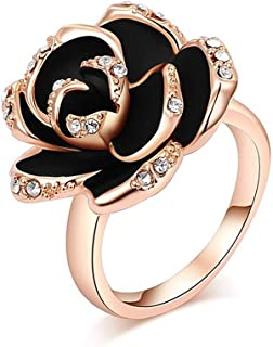 VEDO SHIPIN 18K Rose Gold Plated Black Rose Flower Ring Shining CZ Simulated Diamond Ring | Vintage Rose Gold Ring | 3D Ro...