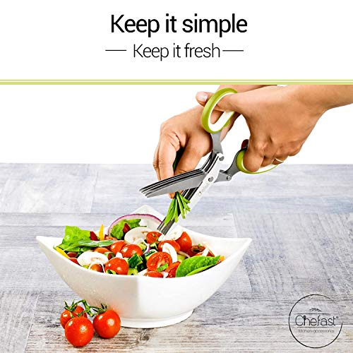 Chefast Herb Scissors Set - Multipurpose Cutting Shears with 5 Stainless Steel Blades, Jute Pouches, and Safety Cover with Cleaning Comb - Cutter / Chopper / Mincer for Herbs - Kitchen Gadget