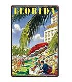Retro City Florida Golfo De México Shabby Chic Carteles De Chapa Cartel De Lienzo Bar De Pared Restaurante Arte del Hogar Decoración 50X70Cm (Jn0976)