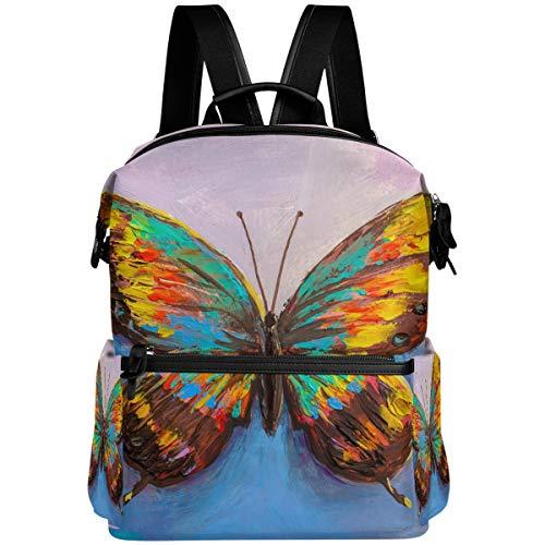 Oarencol - Mochila de pintura de mariposa, para escuela, viajes, senderismo, camping, portátil, mochila