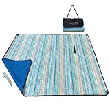 9. KuoSEN Picnic Blanket Water Resistant, Beach Mat Sand Proof, Machine Washable Outdoor Blanket Portable with 4 Stakes 79''x59''(Lake Blue, Bohemia)
