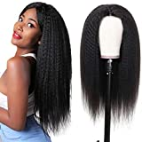 Yaki Kinky Straight Human Hair Wigs Yaki 4x4 Lace Wigs Pre Plucked for Black Women Glueless Yaki Straight Virgin Italian 150% Density Human Hair Lace Wig 18 Inch