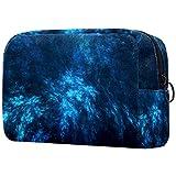 Bolsa de cosméticos portátil de viaje, bolsa de almacenamiento impermeable, color azul oscuro abstracto