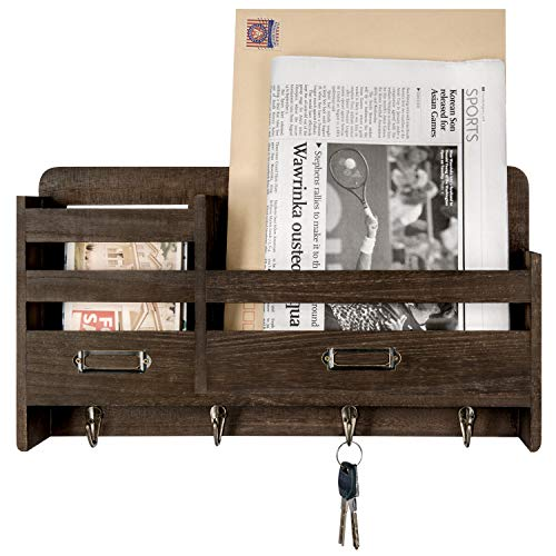 Mkono Mail Organizer Wall Mounted Wood Mails Holder Letter Bills Storage Organizer with 4 Key Hooks Rustic 2-Slot Wall Mails Key Sorter Holder for Entry Room Hallway Garage Kitchen Office, Dark Brown