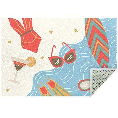 LORVIES Zomer Bikini Zonnebril Zeilboot Eiland Zee Symbolen Ruimte Tapijt Anti-slip Vloer Mat Deurmatten voor Woonkamer Slaapkamer 59x39 Inch
