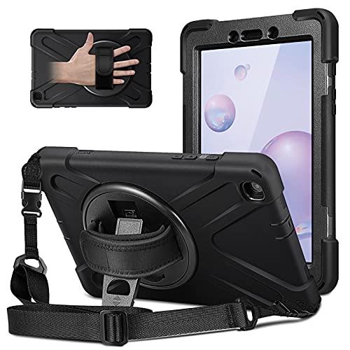 KENOBEE - Funda para Samsung Galaxy Tab A 8.0 2019 (SM-T290/T295), resistente híbrido resistente a los golpes con soporte giratorio y correa de mano para Galaxy Tab A 8.0 2019, color negro