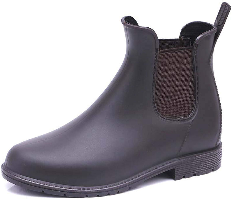 CFPPX Women Men Anti Slip Rain shoes Black Ladies Slip on Waterproof Short Ankle Rain shoes Chelsea Boots