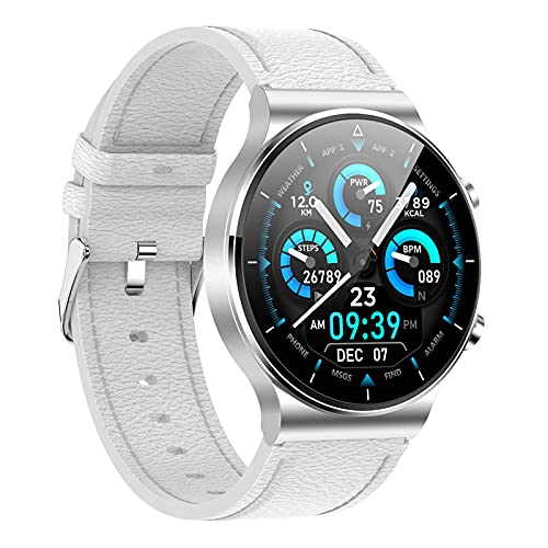 Generic Reloj inteligente, rastreador de actividad con pantalla táctil de 1,3 pulgadas, impermeable, con monitor de sueño, contador de pasos para mujeres y hombres, correa de piel plateada