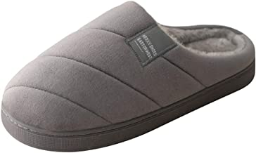 PAMRAY Home Slippers Winter Indoor Warm Cozy Shoes Women Men Soft Plush Fleece Lined Home Cute Bedroom Anti-Skid Wool Slipper Grey 41/42