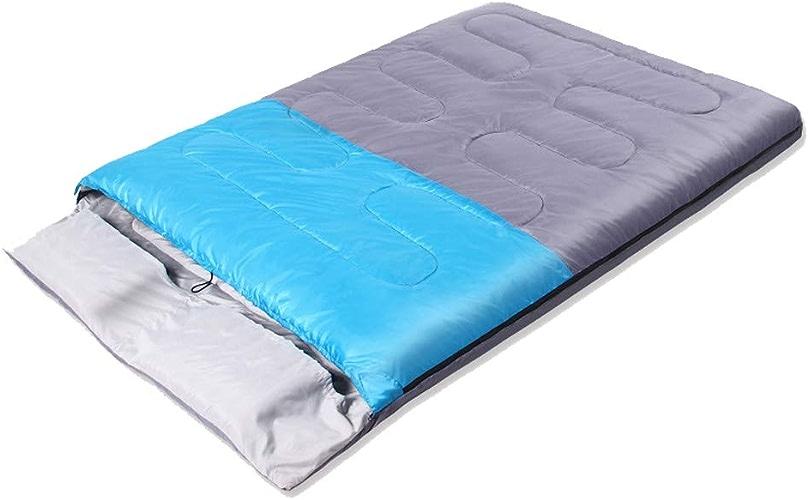 AOKASIX 2 Personne enveloppe Sac de Couchage léger imperméable à l'eau 3-4 Saison pour l'hiver en Plein air Camping sac à dosing Voyage randonnée, 210  145cm,bleu