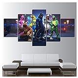 Unknow LIAOGE Lienzo impresión Cartel Pared Arte Pintura 5 Panel, Fuego Battlefield Juego Imagen Home Decoración Sala de Estar, Sin Marco, 30x40-30x60cm - 30x80cm