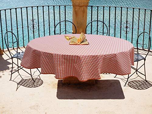 jojo la cigale - Nappe Ovale Coton Imprimé ÉCAILLES 160x200cm Orange