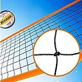 Redes Deportivas On Line Red de voley Playa y Voleibol Modelo Polietileno con Cinta perimetral Naranja. Medidas reglamentarias