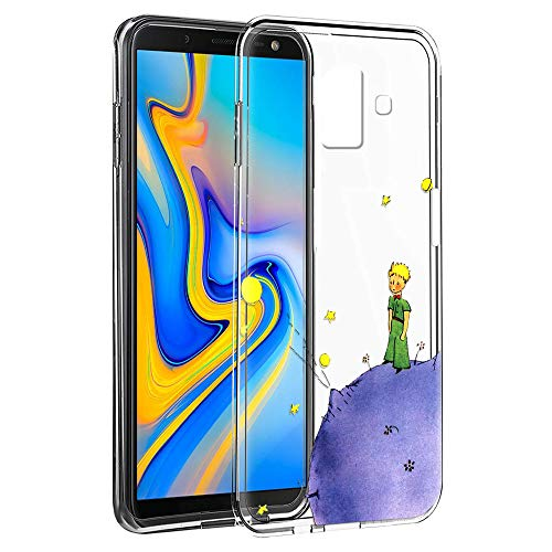 Yoedge Cover Samsung Galaxy J6 Plus Antiurto Custodia Trasparente con Disegni [The Little Prince] Ultra Slim Protective Case Bumper in TPU Silicone per Samsung Galaxy J6 Plus Smartphone (Porpora)