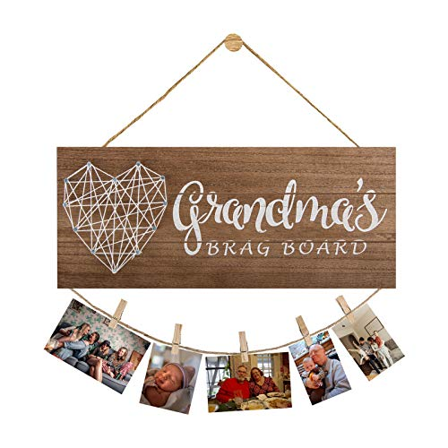 Grandma's Brag Board,Grandkids Photo Holder with 6 Clips 2 Twines MDF Wood Picture Board Nana Birthday Gifts New Grandma Gifts Granddaughter Picture Frames Grandchildren Wall Decor Sign 13.4×5.5inch