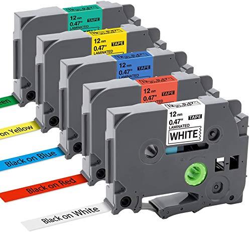 MarkField kompatible Schriftband als Ersatz für Brother P-touch TZe TZ 12mm x 8m 0,47 Etikettenband für ptouch PT-1000 PT-D400 PT-H110LB PT-H105 PT-E100 PT-D200 D210, TZe-231 431 531 631 731