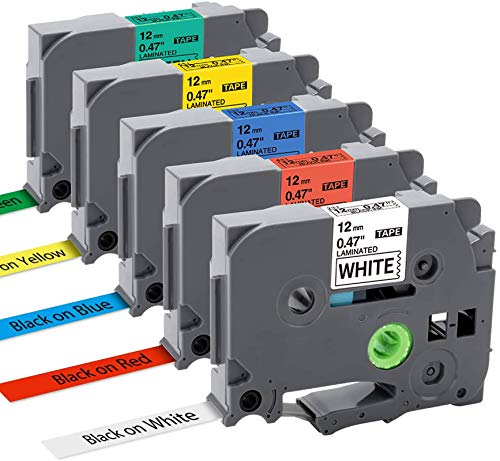Nastro per Etichette MarkField Compatibile In sostituzione di Brother P-touch TZe TZ Tapes 12mm 0.47 Cassetta per Brother P touch PT-1000 PT-1010 1090 1830VP 2030VP 2100VP