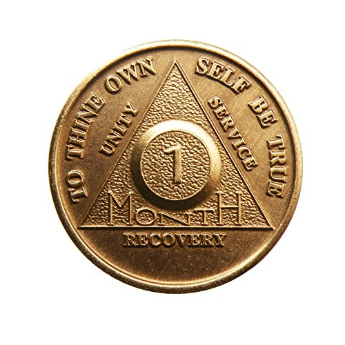 1 Month Bronze AA (Alcoholics Anonymous) - Sober / Sobriety / Birthday / Anniversary / Recovery / Medallion / Coin / Chip