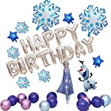Frozen Birthday Party Supplies, 15 Inch Elsa and 30 Inch Olaf Airwalkers Foil Balloon Decorations, Blue Snowflake Balloon Decorations, Includes Happy Birthday Banner for Children's Party Supplies