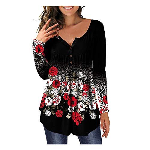 VEMOW Damen Sommer Herbst Elegant Oberteil Langarm O Neck Printed Flarot Floral Beiläufig Täglich Geschäft Trainieren Tops Tunika T-Shirt Bluse Pulli(A2-Blau, EU-44/CN-XL)