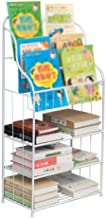 INDIAN DECOR. 28470 Living Room Book Stand Iron Multi-Layer Children's Bookshelf Simple Magazine Rack Floor Magazine Display Stand White 47x25x70cm Suitable for Home and Office