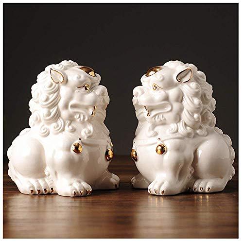 LEILEI Estatuas de león Feng Shui,par de Leones Guardianes,Perros Fu Foo para Caja registradora,Escritorio de Oficina,Calentamiento de la casa,Regalo de Apertura de Tienda felici