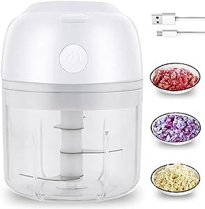Electric Food Chopper Garlic Chopper Mini Food Processor for Onion Ginger Chili Meat Nuts Baby Food 250ML