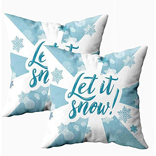 Ducan Lincoln Pillow Case 2PC 18X18,Art Kissenbezug,Quadratische Kissenbezüge Halloween Blue Winter Lassen Schnee Hintergrund A Beide Seiten Kissen Gestrickt