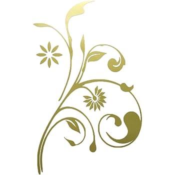 nc-smile 蔓 植物 花 ボタニカル シルエット ステッカー (デザイン 1A, ゴールド)