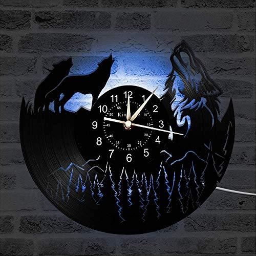 YHMJ Wall Clock 12-Zoll-Schallplatte Wanduhr, Retro handgefertigte Wild Wolf Silent Uhren für Wohnzimmer Schlafzimmer Home Decor, Freunde, Wild Wolf A3 mit LED