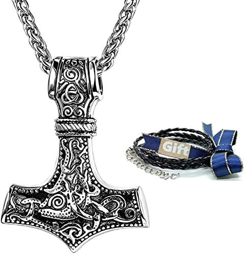 Viking Mjolnir Collar 316L Acero inoxidable Thor's Hammer Odin Colgante Norse Celtic Amuleto Joyería Collar para hombres Mujeres