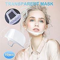 20 pezzi trasparente aperta, mezza faccia in plastica trasparente elastica comoda protezione per la bocca indossabile, di sicurezza riutilizzabile (10PC) #1