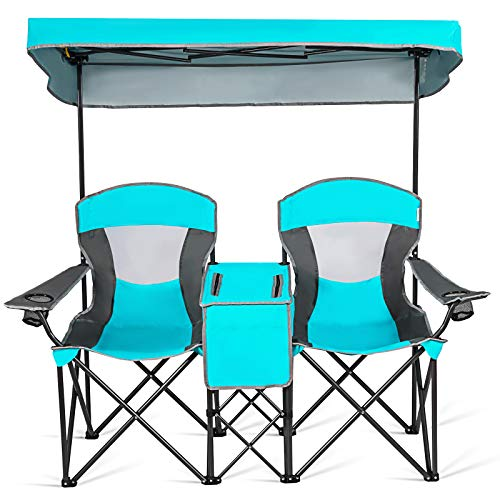 Goplus Double Camping Seat w/Shade Canopy, Mini Table Beverage Holder Carrying Bag for Beach Patio Pool Park Outdoor Portable Folding Beach Chairs...