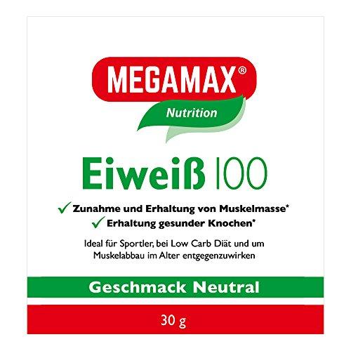Megamax Eiweiss Neutral 30 g   Molkenprotein + Milcheiweiß Für Muskelaufbau ,Diaet   2k-Eiweiss ideal zum Backen   hochdosiert Low Carb Eiweiß   aspartamfrei Proteinpulver mit Aminosäure