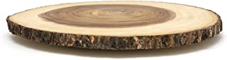 Lipper International 1066 Acacia Wood  Large Slab Lazy Susan with Bark Rim