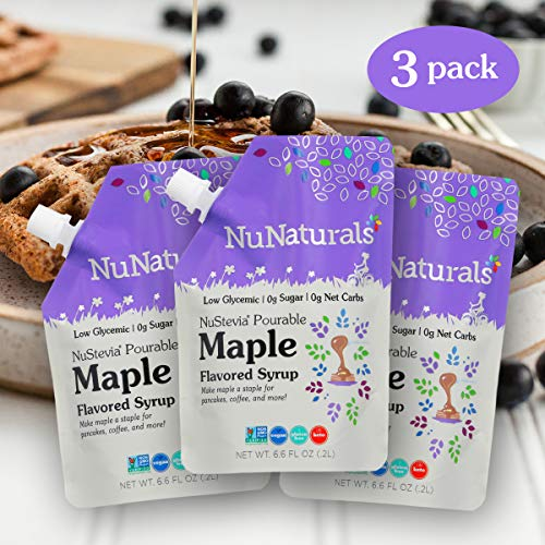 NuNaturals Flavored Sugar-Free Pourable Syrup, 3 Pack, Maple Syrup