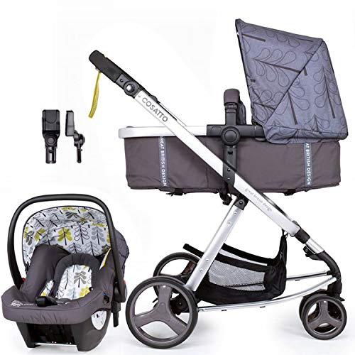 Cosatto Giggle Mix Travel System - Pram & Pushchair, Baby Car Seat, Adaptors, Footmuff (Fika Forest)