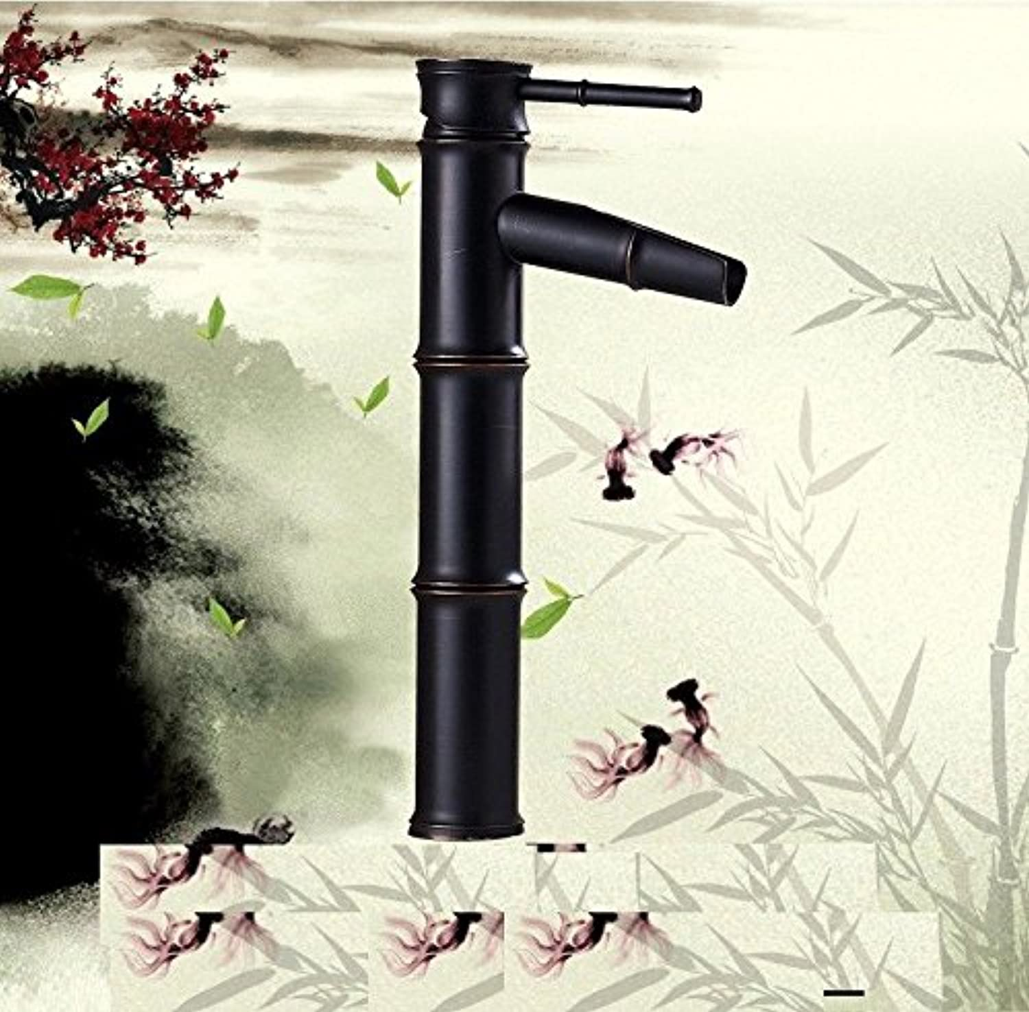 ETERNAL QUALITY Bathroom Sink Basin Tap Brass Mixer Tap Washroom Mixer Faucet Bamboo water-saving faucets antique copper basin-wide hot and cold blender Kitchen Sink Taps