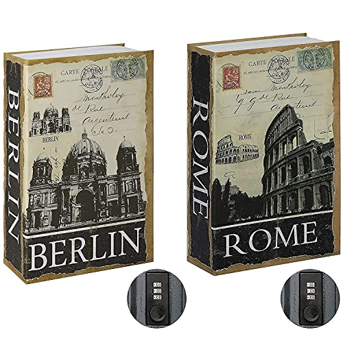 Jssmst Diversion Book Safe with Combination Lock, Secrect Hidden Safe Lock Box for Home Office Code Lock Money Box High Capacity, 9.5 x 6.2 x 2.2 inch, SM-BS019 Berlin bundle with ROME