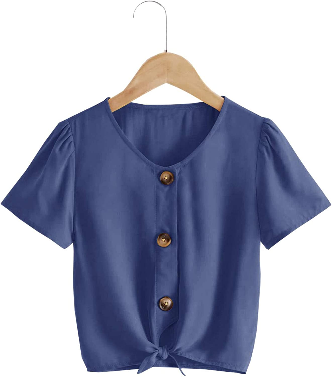 Meilidress Kids Girls Short Sleeve Tops V Neck Tie Knot Front Button Down Shirts Blouse