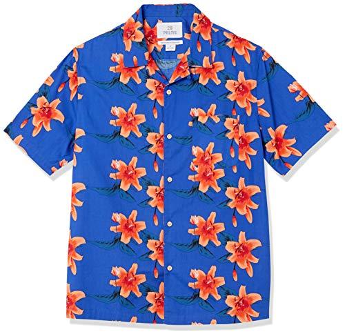 Amazon Brand - 28 Palms Men's Relaxed-Fit 100% Cotton Tropical Hawaiian Shirt, Ocean Blue Pink...