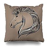 Klotr Decorative Kissenbezug Horse Artistic Head Sketch Black Power Contour Elegance Emblem Equestrian Design Grace Home Decor Pillowcase Square Size 18' x 18' Cushion Case