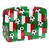 Bolsa de Maquillaje Italia Banderas de fútbol Neceser de Cosméticos y Organizador de Baño Neceser de Viaje Bolsa de Lavar para Hombre y Mujer 18.5x7.5x13cm