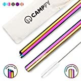 CAMPFY Stainless Steel Boba Straw Original Set: 5 Angled-Tip Straws & Cleaning Brush - Wide Bubble Tea Straws - Reusable Metal Drinking Straws for Reduced Plastic Consumption - Dishwasher Safe
