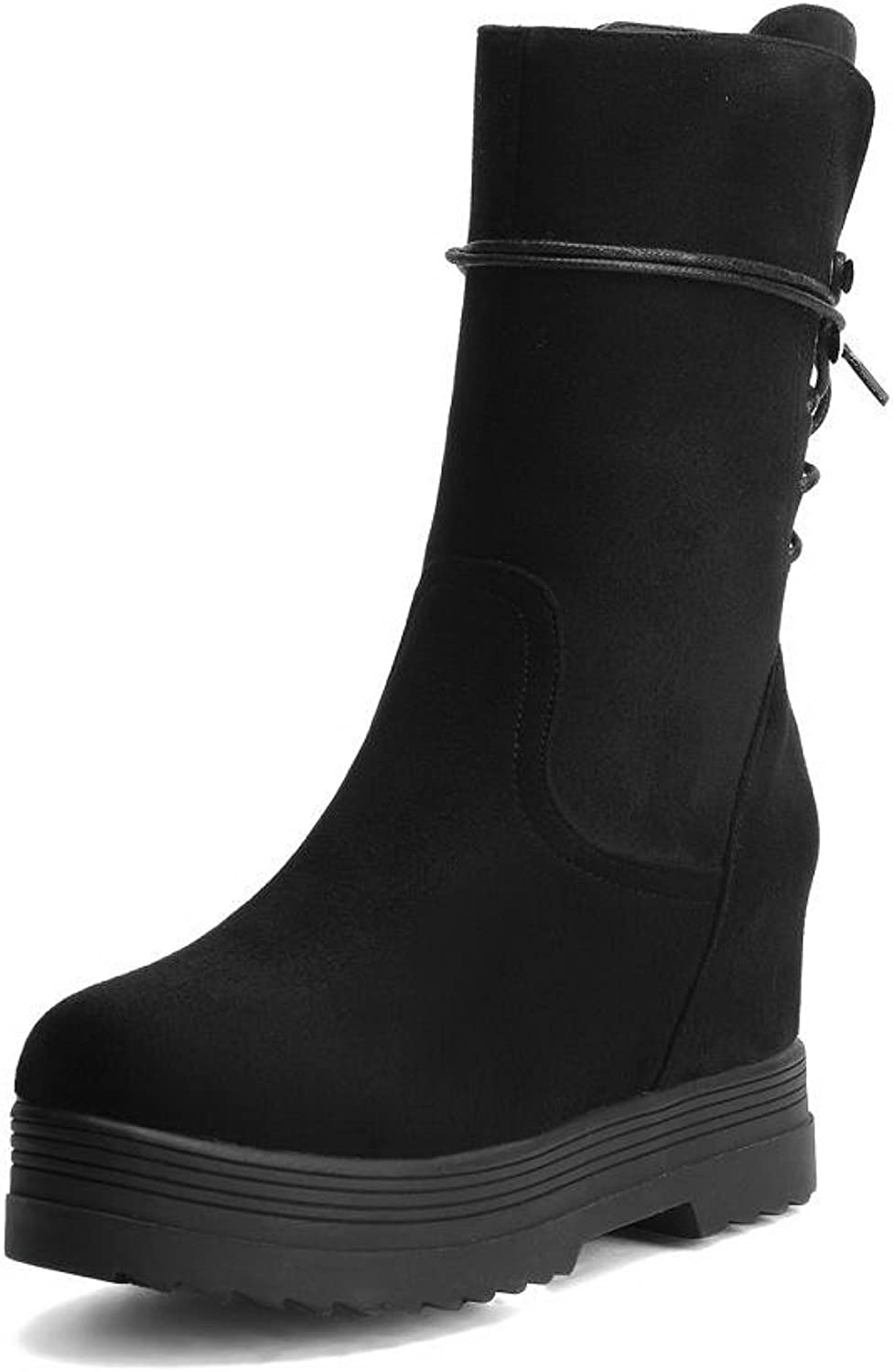 AllhqFashion Women's Round Closed Toe High Heels Mid Top Boots
