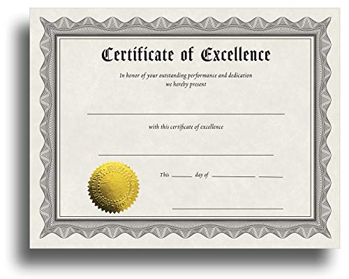 Certificate of Excellence Certificate Paper with Embossed Gold Foil Seals - 30 Pack - Parchment Award Certificates for Students, Teachers, Employees - 8.5