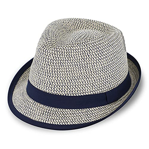 fiebig Sombrero de papel Trilby con cinta de grogrén | sombrero de verano de papel | sombrero de sol picable, azul marino, 57 cm