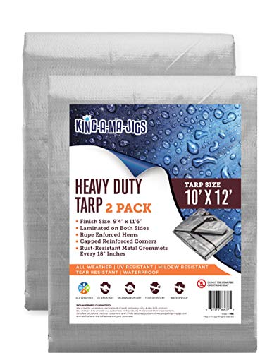 (2 Pack) 10x12 Heavy Duty Waterproof Tarp - Metal Grommets Every 18 Inches - Emergency Rain Shelter, Outdoor Cover and Camping Use - (10 Mil) (Silver and Brown) (10 Foot. x 12 Foot)
