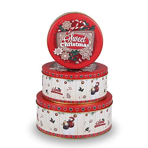 GWHOLE 3 x Botes para Galletas Navidad Caja Lata para Pan de Hombre Jengibre Botes Dulces Original Recipiente para Alimento